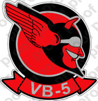 STICKER USN VB 5 BOMBING SQUADRON B