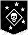 STICKER USMC MARINE RAIDER BLACK N WHITE