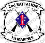 STICKER USMC UNIT   2ND BATTALION 1ST MARINE REGIMENT v1 ooo Lisc#20187