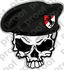 STICKER U S ARMY BERET UNIT 11TH Armored Cav SKULL