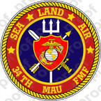 STICKER USMC 34TH MAU Marine Amphibious Unit