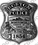 STICKER BOSTON POLICE BADGE NEW BLACK