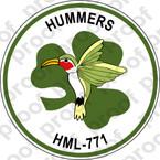 STICKER USMC HML 771 HUMMERS ooo  USMC LISC NUMBER 19172