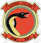 STICKER USMC HML 367 HOVER COVER ooo  USMC LISC NUMBER 20187