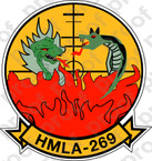 STICKER USMC HMLA 269 THE GUNNERS ooo  USMC LISC NUMBER 20187
