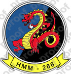 STICKER USMC HMM 268 RED DRAGONS   ooo  USMC LISC NUMBER 20187
