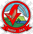 STICKER USMC HMM 364 MEDIUM HELICOPTER SQUADRON   ooo  USMC LISC NUMBER 20187