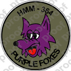 STICKER USMC HMM 364 Purple Foxes   ooo  USMC LISC NUMBER 20187