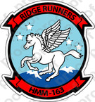 STICKER USMC HMM 163 RIDGE RUNNERS   ooo  USMC LISC NUMBER 20187