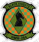 STICKER USMC HMM 264 BLACK KNIGHTS   ooo  USMC LISC NUMBER 20187