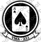 STICKER USMC VMA 231 ACE OF SPADES   ooo  USMC LISC NUMBER 20187