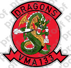 STICKER USMC VMA 133 DRAGONS   ooo  USMC LISC NUMBER 20187