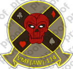 STICKER USMC VMF AW 114 DEATH DEALERS   ooo  USMC LISC NUMBER 20187