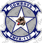 STICKER USMC VMFA 112 COWBOYS   ooo  USMC LISC NUMBER 20187