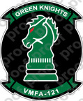 STICKER USMC VMFA 121 GREEN KNIGHTS   ooo  USMC LISC NUMBER 20187