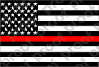 STICKER PATRIOTIC USA FLAG BW RED LINE