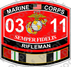 STICKER USMC MOS 0311 RIFLEMAN IRAQ NEW ooo Lisc No 19172