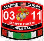 STICKER USMC MOS 0311 RIFLEMAN KUWAIT NEW ooo Lisc No 19172