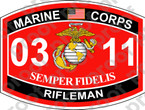 STICKER USMC MOS 0311 Rifleman ooo Lisc No 20187