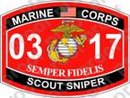 STICKER USMC MOS 0317 SCOUT SNIPER ooo Lisc No 19172