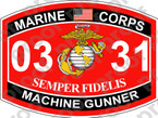 STICKER USMC MOS 0331 MACHINEGUNNER ooo Lisc No 20187