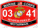 STICKER USMC MOS 0341 MOTARMAN ooo Lisc No 20187