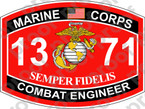 STICKER USMC MOS 1371 COMBAT ENGINEER ooo Lisc No 20187