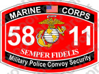 STICKER USMC MOS 5811 Military Police Convoy Security ooo Lisc No 20187