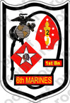 STICKER USMC UNIT   1ST BATTALION 6TH MARINE REGIMENT   ooo   LISC#20187