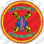 STICKER USMC UNIT   1ST BATTALION 11TH MARINE REGIMENT   ooo   LISC#20187