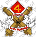 STICKER USMC UNIT   1ST BATTALION 14TH MARINE REGIMENT   ooo   LISC#20187