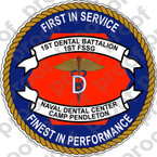 STICKER USMC UNIT   1ST DENTAL BATTALION   ooo   LISC#20187
