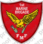 STICKER USMC UNIT   1ST MARINE BRIGADE   ooo   LISC#20187