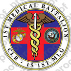 STICKER USMC UNIT   1ST MEDICAL BATTALION   ooo   LISC#20187