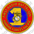 STICKER USMC UNIT   1ST RADIO BATTALION   ooo   LISC#20187