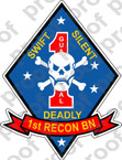 STICKER USMC UNIT   1ST RECON BATTALION v2   ooo   LISC#20187