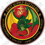 STICKER USMC UNIT   1ST SUPPLY BATTALION   ooo   LISC#20187
