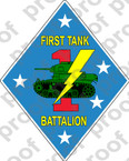 STICKER USMC UNIT   1ST TANK BATTALION v1   ooo   LISC#20187