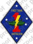 STICKER USMC UNIT   1ST TANK BATTALION v2   ooo   LISC#20187