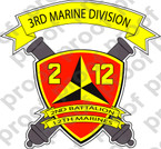STICKER USMC UNIT   2ND BATTALION 12TH MARINE REGIMENT   ooo   LISC#20187