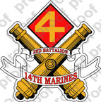STICKER USMC UNIT   2ND BATTALION 14TH MARINE REGIMENT   ooo   LISC#20187