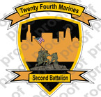 STICKER USMC UNIT   2ND BATTALION 24TH MARINE REGIMENT B   ooo   LISC#20187