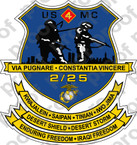 STICKER USMC UNIT   2ND BATTALION 25TH MARINE REGIMENT   ooo   LISC#20187