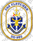 STICKER USN DD 992 USS FLETCHER