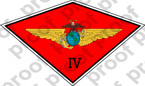 STICKER USMC UNIT   4th Marine Aircraft Wing MAW ooo Lisc#20187