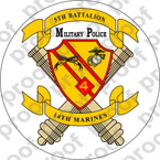 STICKER USMC UNIT   5TH BATTALION 14TH MARINE REGIMENT MP v2 ooo Lisc#20187