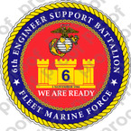 STICKER USMC UNIT   6TH ENGINEER BATTALION ooo Lisc#20187