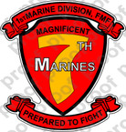 STICKER USMC UNIT   7TH MARINE REGIMENT A ooo Lisc#20187