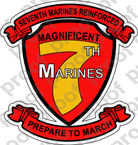 STICKER USMC UNIT   7TH MARINE REGIMENT C ooo Lisc#20187