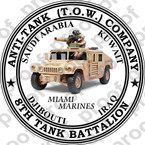 STICKER USMC UNIT   8TH TANK BATTALION TOW MIAMI ooo Lisc#20187
